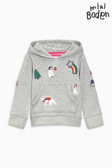 Boden Grey Marl Patch Hoody