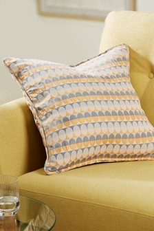 Ochre Oval Woven Geometric Cushion