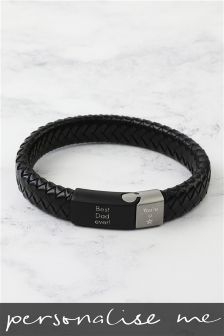 Real Leather Personalised Bracelet By Lisa Angel