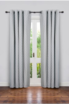 Secret Linen Store Teasels Grey Eyelet Curtains