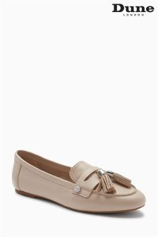 Dune Nude Leather Flexible Tassel Loafer