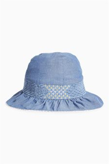 Chambray Embroidered Dress Hat (Younger Girls)