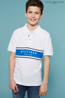 Tommy Hilfiger White Striped Rib Polo Top