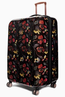 IT Luggage Dark Floral Expander Suitcase Large