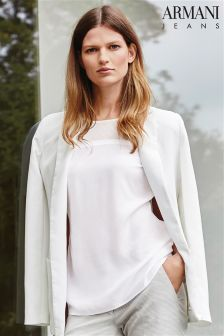 Armani Jeans White Sheer Blouse