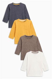 Long Sleeve Plain T-Shirt Four Pack (3mths-6yrs)