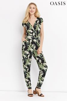 Oasis Black Tropical Jumpsuit