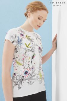 Ted Baker Ivory Passion Flower Fitted Tee