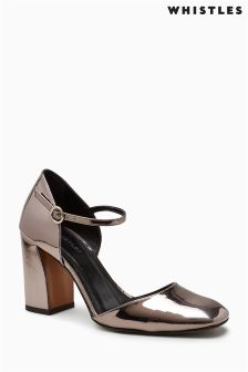 Whistles Silver Jackson High Block Heel Mary Jane