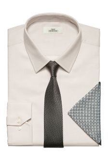 Textured Slim Fit Shirt, Tie And Pocket Square Set