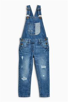 Denim Distressed Dungarees (3-16yrs)