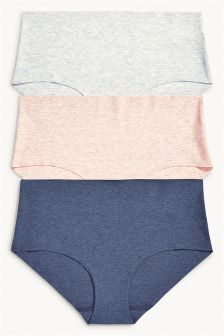 Cotton Free Cut Midi Briefs Three Pack