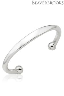 Beaverbrooks Mens Silver Torque ID Bangle
