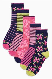 Floral Stripe Ankle Socks Five Pack
