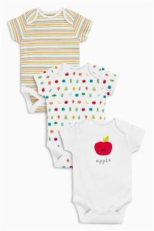Vegetables Short Sleeve Bodysuits Three Pack (0mths-2yrs)