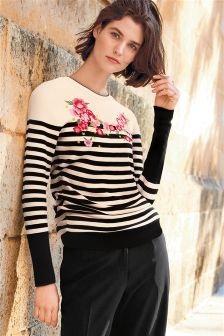 Stripe Embroidered Sweater