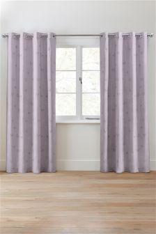Cotton Rich Mauve Printed Butterfly Eyelet Curtains