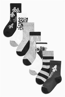 Foil Print Rocket Socks Seven Pack (Younger)