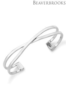 Beaverbrooks Silver Crossover Cuff Bangle