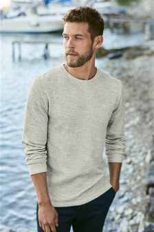 Long Sleeve Textured T-Shirt