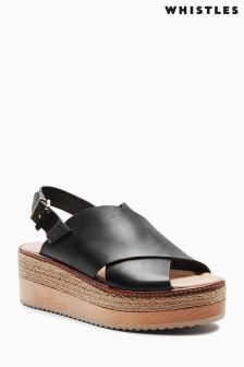 Whistles Black Flat Form Sandal