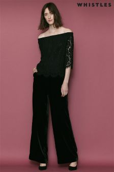 Whistles Black  Darcie Lace Bardot Top