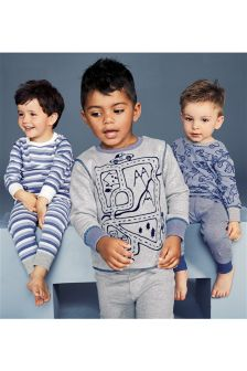 Car And Stripe Pyjamas Three Pack (9mths-8yrs)