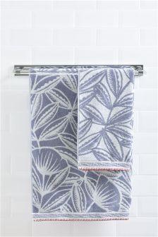 Blue Scandi Floral Towel