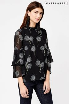 Warehouse Black Pattern Dandelion Chiffon Top