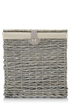 Grey Wicker Storage Box