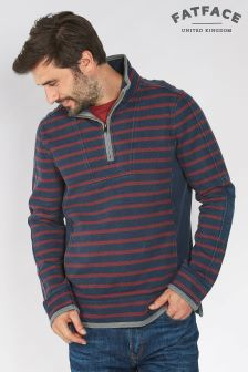 Fat Face Dark Ink Airlie Pocket Breton Stripe Sweat