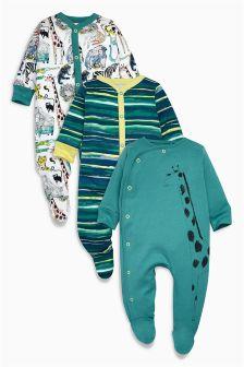 Jungle Print Sleepsuits Three Pack (0mths-2yrs)