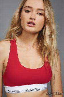 Calvin Klein Red Modern Cotton Logo Bralette