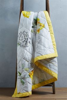 Yellow Floral Quilted Throw