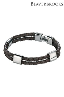 Beaverbrooks Men's Steel and Brown Leather Bracelet