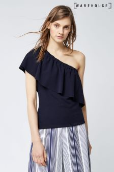 Warehouse Navy Crepe One Shoulder Top