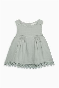Linen Lace Trim Blouse (3mths-6yrs)