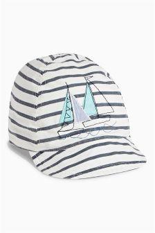 Ecru/Navy Boat Cap (0mths-2yrs)