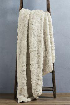 Cream Textured Faux Fur Throw