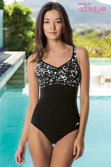 Speedo® Black/White Sculpture Contourluxe Swimsuit
