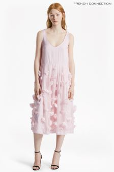 French Connection Pink Agnes Floral V-Neck Dress