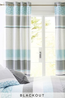 Hadley Teal Blackout Eyelet Curtains