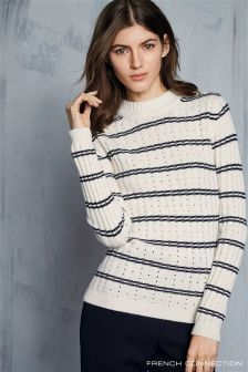 French Connection Cream/Navy Rib Knit Jumper