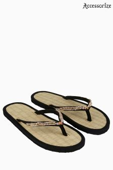 Accessorize Black Maldives Beaded Seagrass Flip Flop