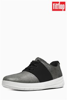 FitFlop™ Black Sporty-Pop™ X Lizard Print Suede Sneaker