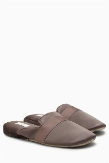 Slim Satin Mule Slippers