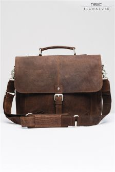 Brown Signature Leather Oily Briefcase