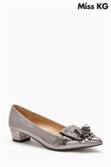 Miss KG Pewter Anita Block Heel Fringe and Tassel Loafer