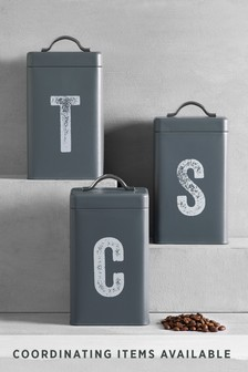 Set Of 3 Grey Metal Storage Tins