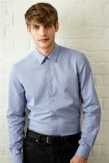 Textured Slim Fit Shirt With Concealed Placket